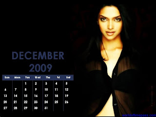 deepika padukone december 2009 calendar wallpapers