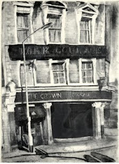 Crown Pub, Peckham, etching & aquatint 1982+