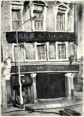 Crown Pub, Peckham, etching & aquatint 1982+