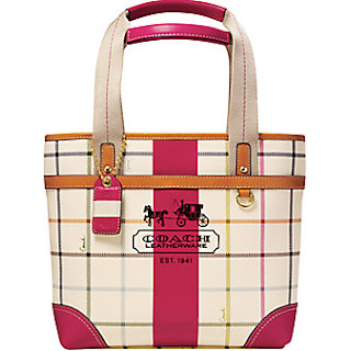 COACH HERITAGE STRIPE PEACE GAMES SMALL TOTE