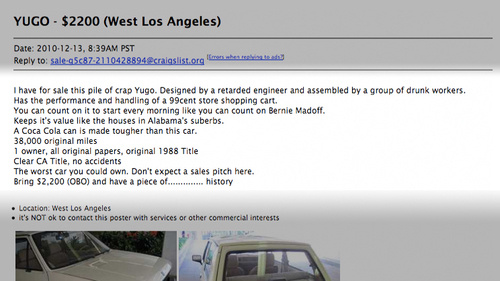 chief mockery officer best craigslist car ad ever. Black Bedroom Furniture Sets. Home Design Ideas