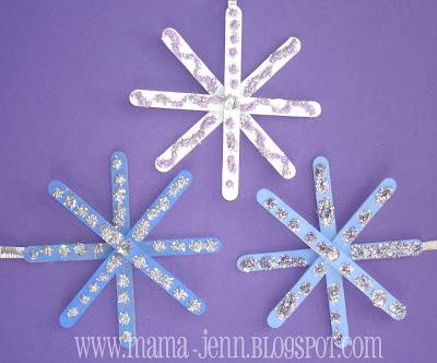Glitter snowflakes stars popsicle stick ornaments for Popsicle stick star ornament