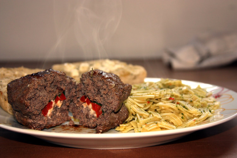 Spinach, Feta & Red Bell Pepper Stuffed Hamburgers with a Herb & Feta...
