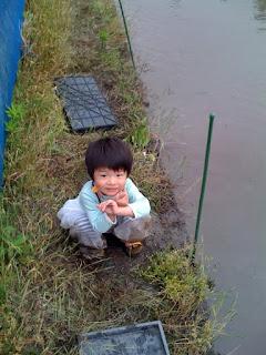 越谷市鴨ネギ鍋の田植え&稲刈り農業体験を楽しむ息子