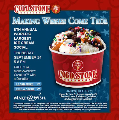 Free coldstone ice cream for make a wish event erica swallows blog go to cold stone creamery on september 24th from 5 8pm for free ice cream when you make a donation to make a wish foundation ccuart Image collections