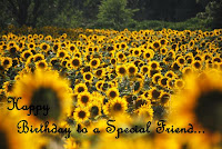 happy birthday friend sunflowers wish