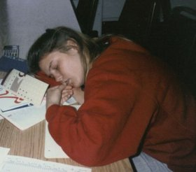 Julie, late night studying (by osmosis), 1989