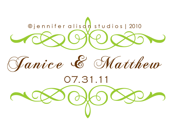 janice matthew custom wedding monogram logos