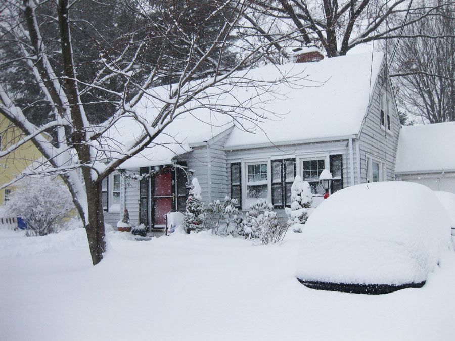 snow covered house - photo #4