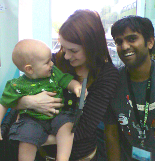 Powained: Owain McFarlane, Felicia Day and Sandeep Parikh at Penny Arcade Expo 2008