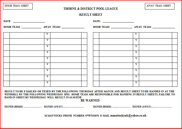 thorne and district pool league result sheet