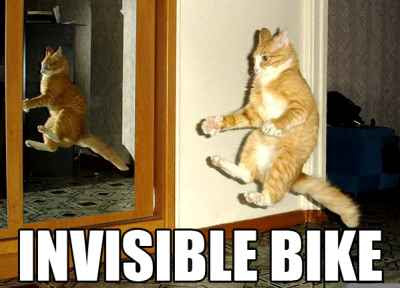Tomcat on the invisible bike.