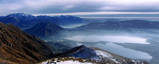 panorama del lago di Annone dal monte Cornizzolo