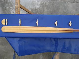 facciata e sezioni alle varie distanze di una pagaia modello Aleutina