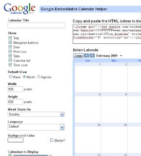 Configure the embedded calendar