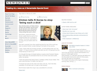 Satirical story on what Clinton said about North Korea on website newsarse.com