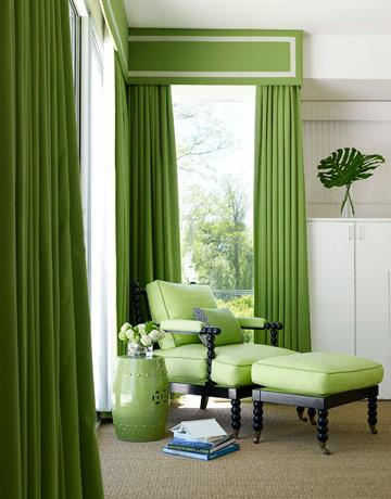 El tono verde en la decoraci n de su casa decorando mejor for Cortinas verdes para salon