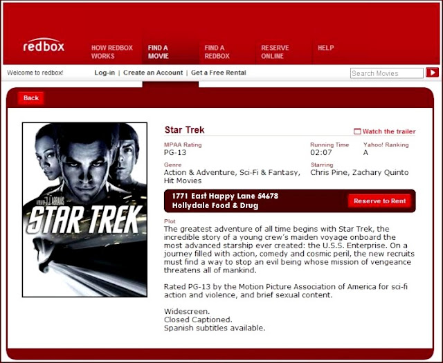 red box & star trek rental for one dollar