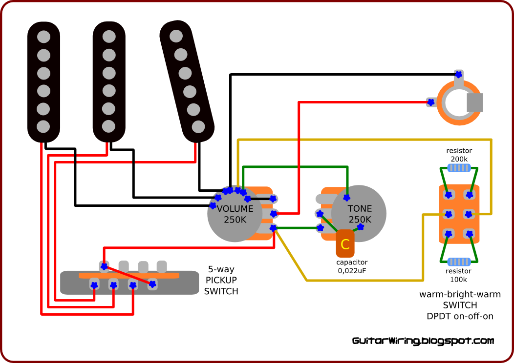 The guitar wiring blog diagrams and tips wiring diagram for the 3 way on off on switch has connected two resistors 100k and 200k by using this switch you can connect one of them to the guitar volume potentiometer asfbconference2016 Gallery