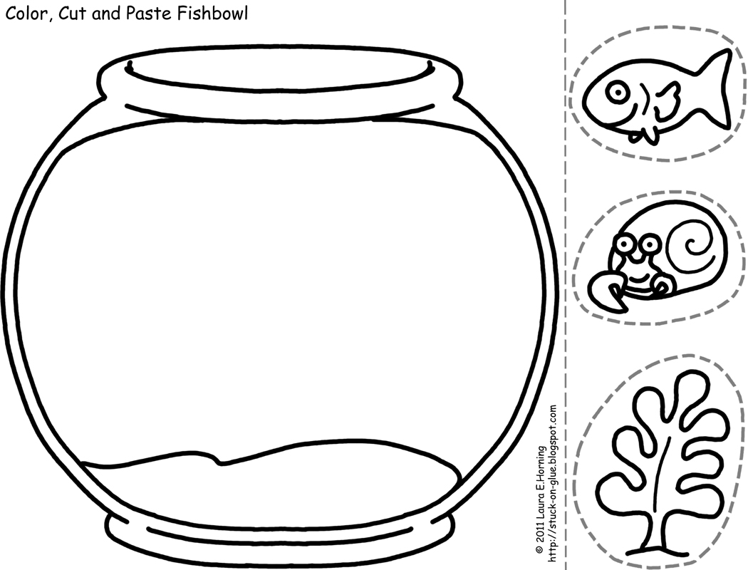 Empty Fish Bowl Coloring Page http://stuck-on-glue.blogspot.com/2011/02/cut-and-color-printable-fishbowl.html