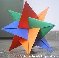 Объёмная звёздочка в технике оригами