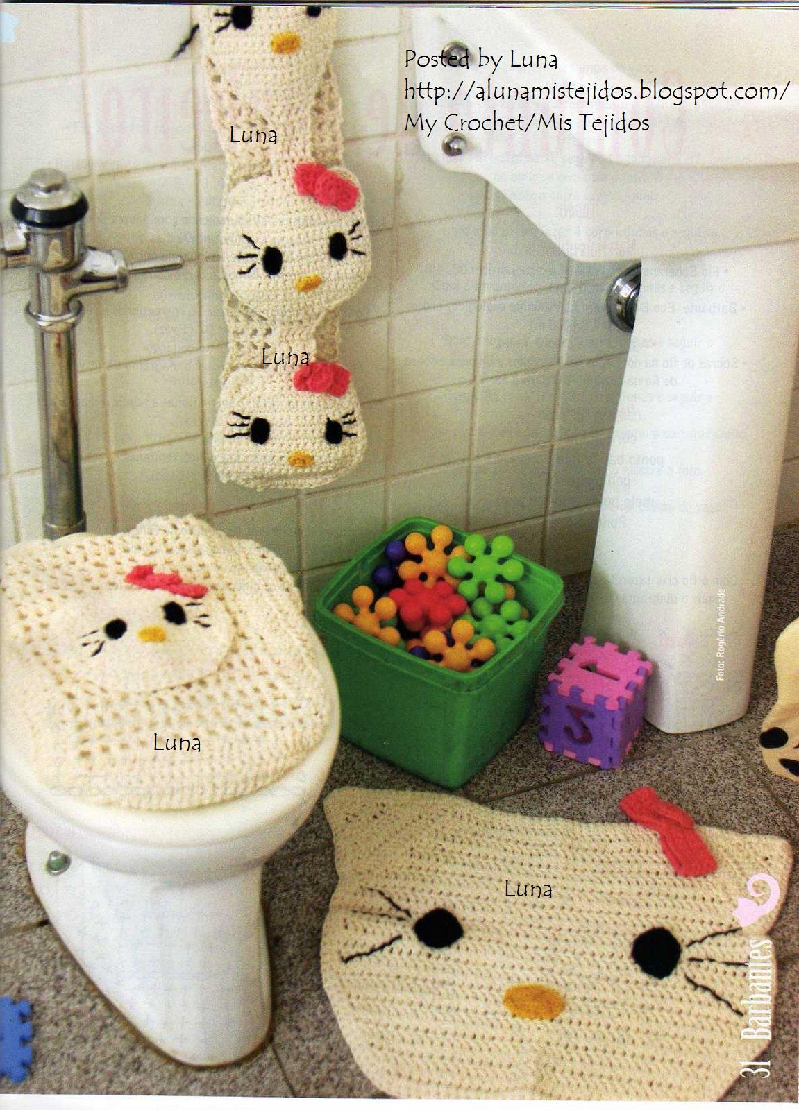 Juegos de ba o a crochet con patrones for Juego de artefactos de bano