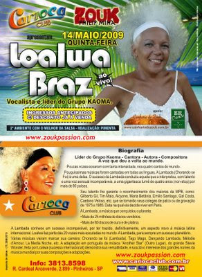 Loalwa Braz leader of the famous group Kaoma (with the hit 'Lambada' that made number one worldwide)performs in Rio this year