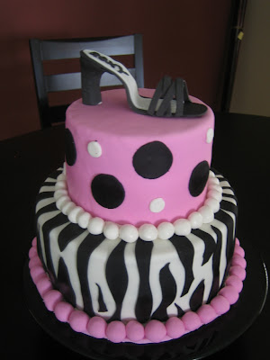 This cake goes back to one of my original designs (the zebra print cake with