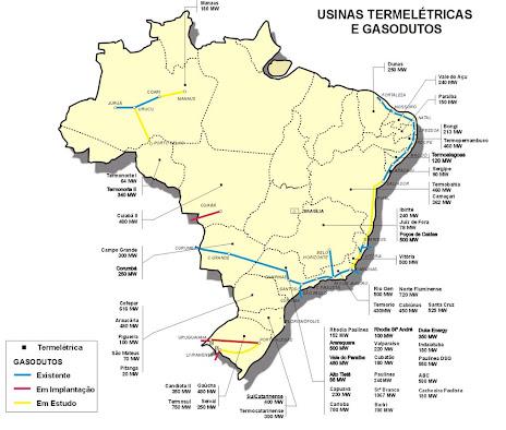 Mapa de termoelétrica no Brasil