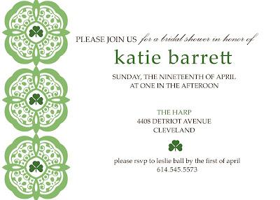 Irish Wedding Shower Invites