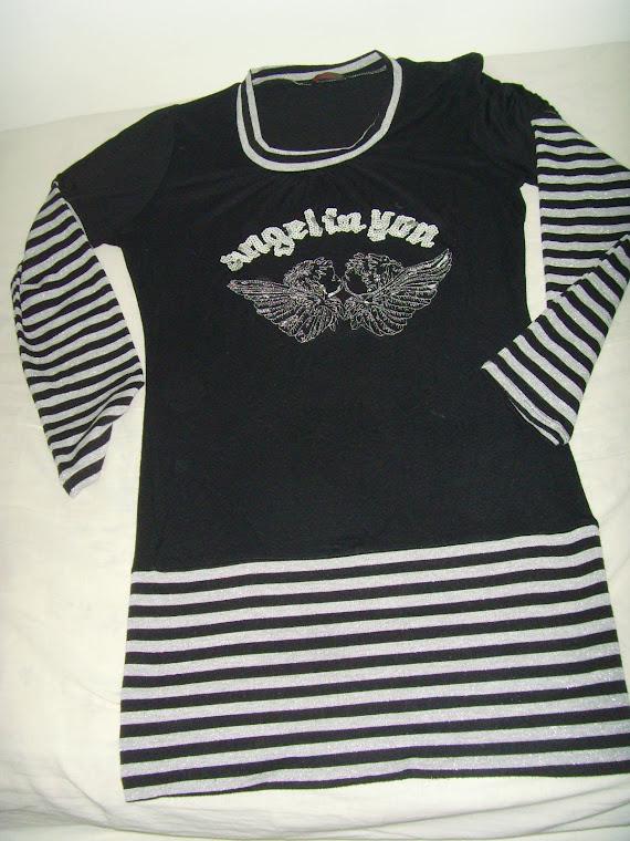Blusa para usar com Legging - Preta e Prata.