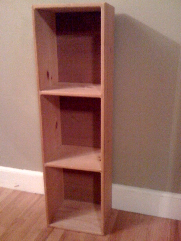 Unfinished Wood Bookshelf With Three Tiers Measures 35ft Tall 9in Deep 1 Ft Wide