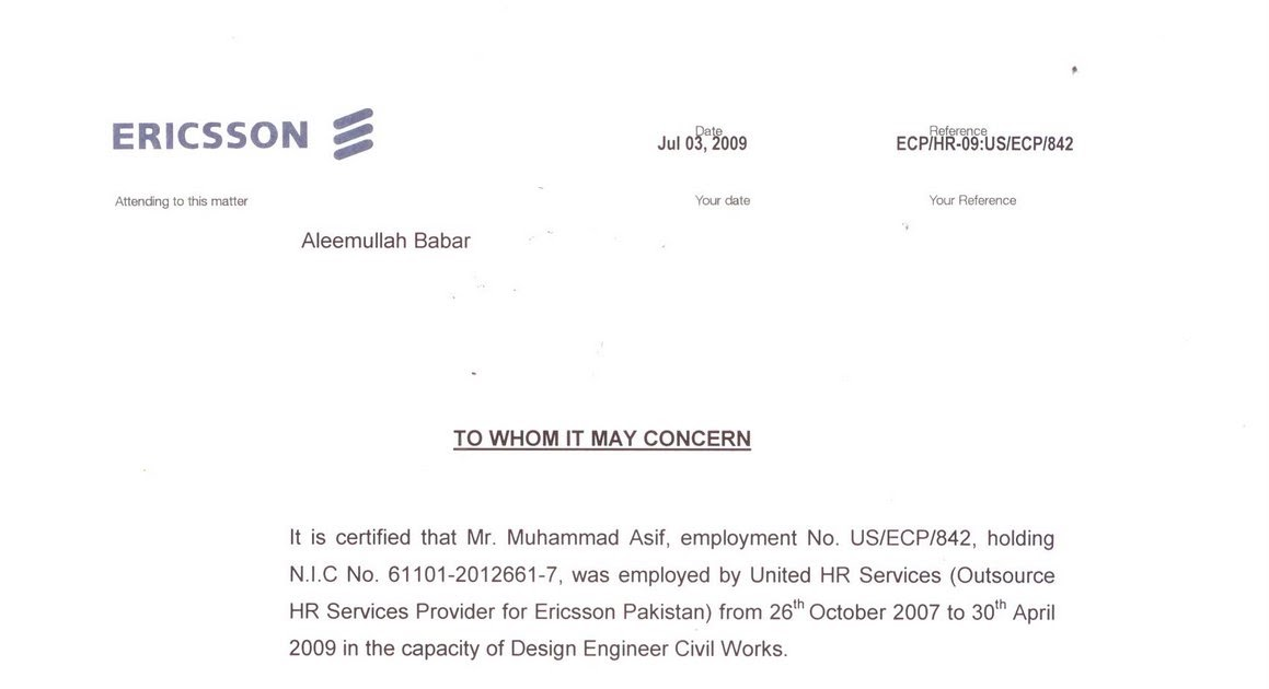Muhammad asif profile experience certificate yelopaper Choice Image