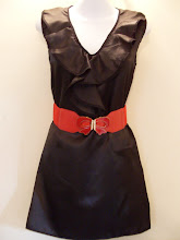 A 1128 - Black ruffle dress (belt not included), can fit size S,M,L