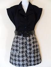 A 1178, black/printed dress w/belt, free size