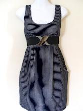 A 1189 - Stripe dress w/belt, fits size S,M