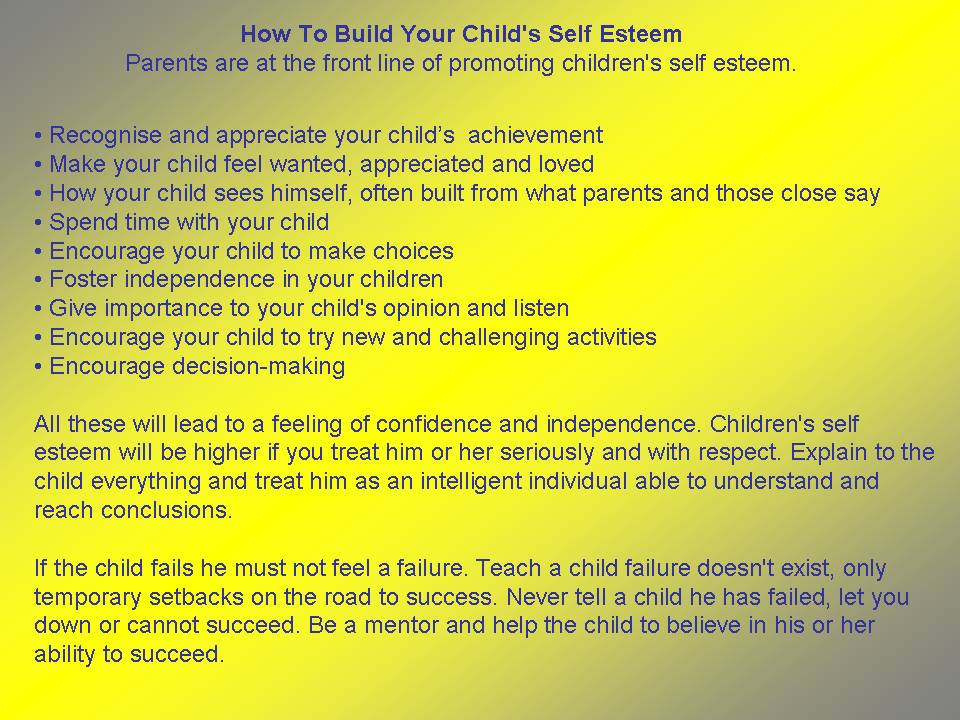 a childs self esteem essay