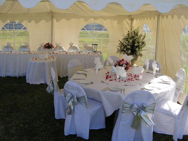 Have my wedding reception in a small party tent with beautiful flowers all