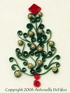 новогодняя квиллинг-елочка, украшенная жемчужинами