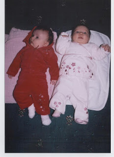 Maia (in white) and her cousin Lilly (who is four weeks older)