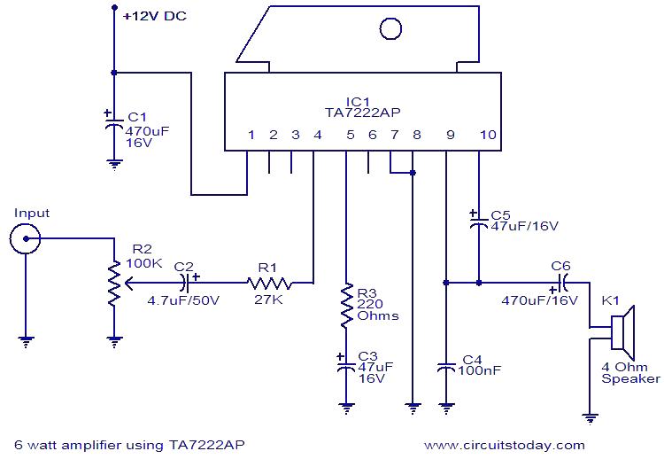 all electronics 6 watt audio amplifier based on ta7222ap ic rh creation electronics blogspot com