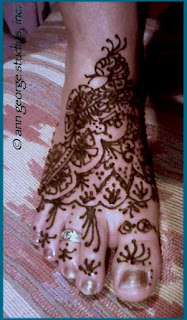 henna tattoo for top of foot - original henna design