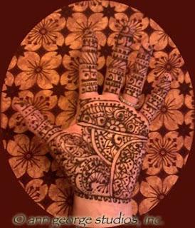 full palm henna tattoo traditional pattern