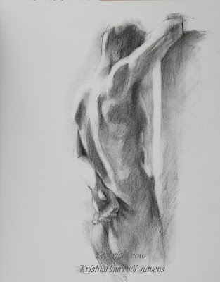 Charcoal Drawings of the Male Nude. Light and shadow, muscles and mood.