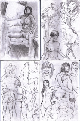 Click to enlarge: More of my regular figure drawin studies.