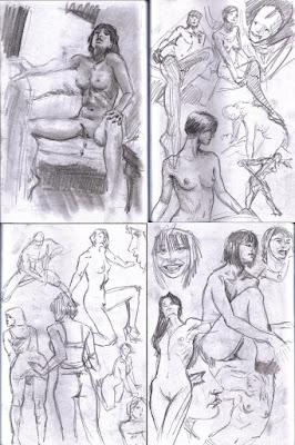 Click to enlarge: More of my regular figure drawin studies.