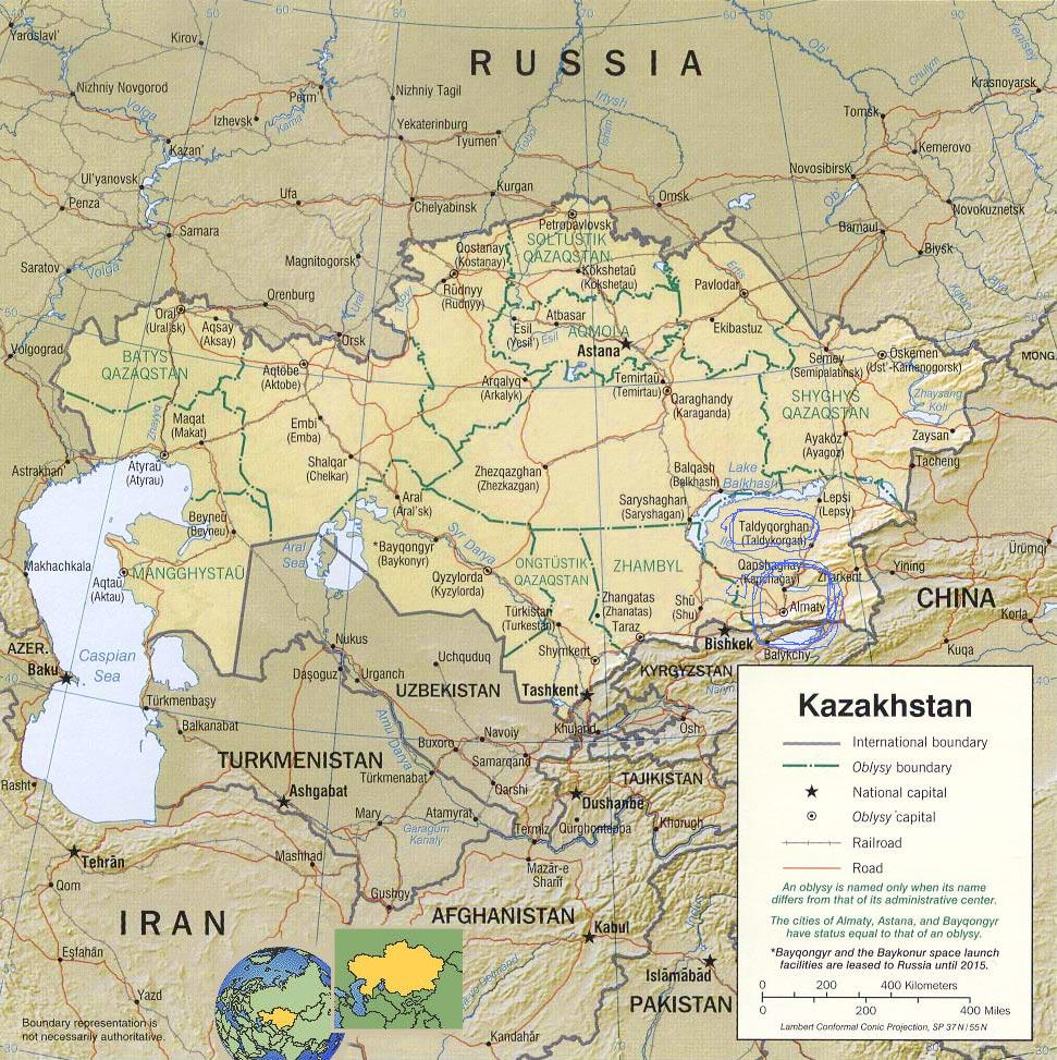 we have two cities to be concerned about on this map and they are located near the top of the word kazakhstan in th box just above the top left corner