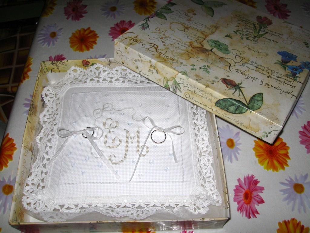 Le piccole creazioni di ely cuscinetto portafedi - Cuscino portafedi punto croce ...