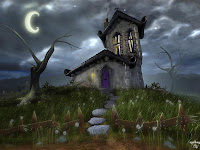 dark night spooky house wallpaper