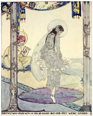 Her+Vace+was+Veiled+with+a+Veil+of+Gauze++but+her+Feet+were+Naked+by+Jessie+M.+King++for+The+Fisherman+and+His+Soul,+by+Oscar+Wilde dans Illustrateurs